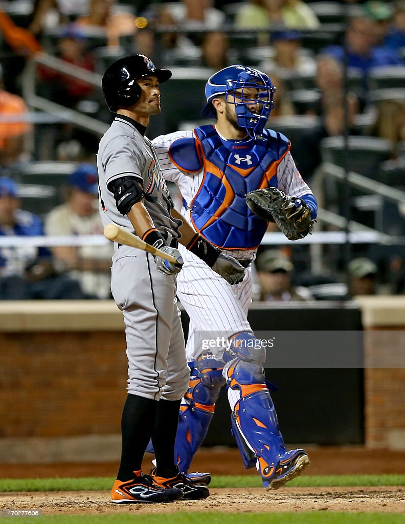 <a gi-track='captionPersonalityLinkClicked' href=/galleries/search?phrase=Ichiro+Suzuki&family=editorial&specificpeople=201556 ng-click='$event.stopPropagation()'>Ichiro Suzuki</a> #51 of the Miami Marlins reacts after he struck out as Travis d'Arnaud #7 of the New York Mets defends on April 18, 2015 at Citi Field in the Flushing neighborhood of the Queens borough of New York City.