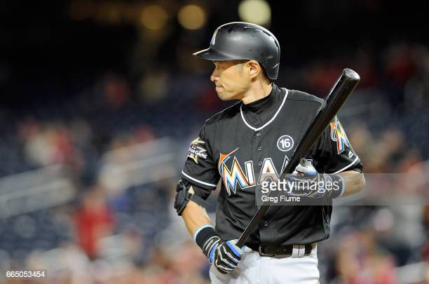 Ichiro Suzuki of the Miami Marlins reacts after striking out in the ninth inning against the Washington Nationals at Nationals Park on April 5 2017...