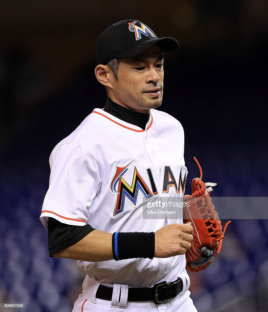 Ichiro Suzuki #51 of the Miami Marlins runs off the field during a game against the Washington Nationals at Marlins Park on September 21, 2016 in Miami, Florida.