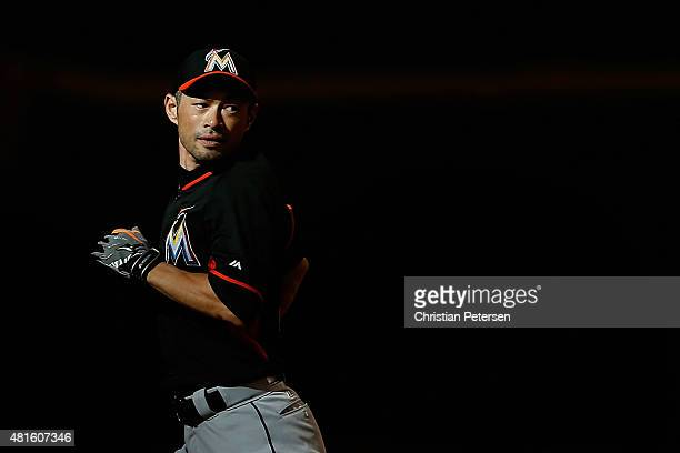 Ichiro Suzuki of the Miami Marlins runs the bases while taking batting practice before the MLB game against the Arizona Diamondbacks at Chase Field...