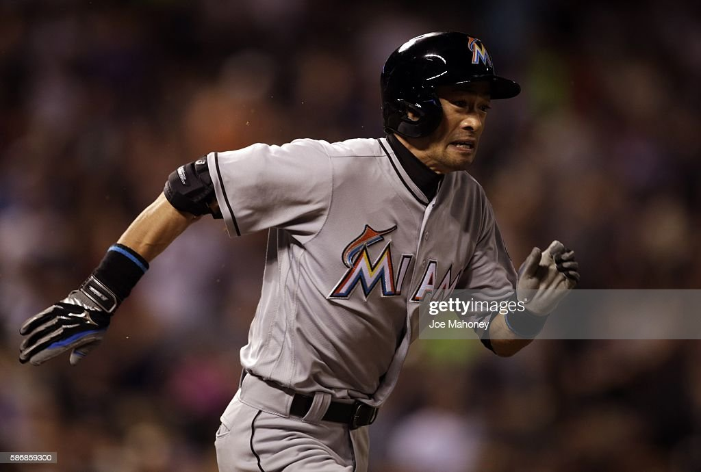 Ichiro Suzuki #51 of the Miami Marlins runs to first base on a single against the Colorado Rockies in the seventh inning at Coors Field on August 6, 2016 in Denver, Colorado. The hit was the 2,999th of Suzuki's Major League Baseball career.