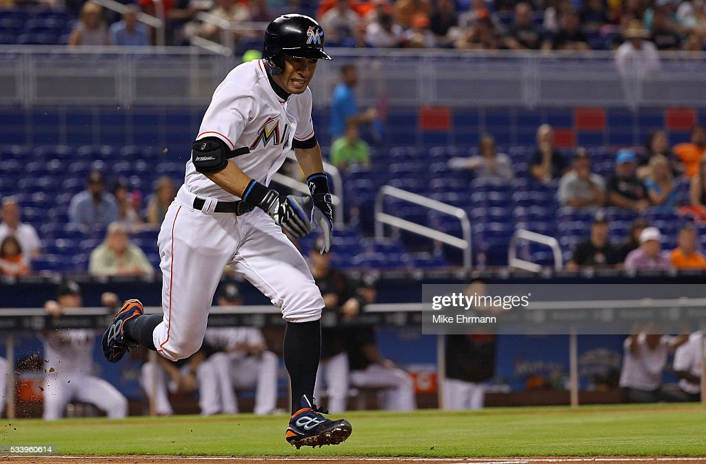 Ichiro Suzuki #51 of the Miami Marlins runs to first during a game against the Tampa Bay Rays at Marlins Park on May 24, 2016 in Miami, Florida.
