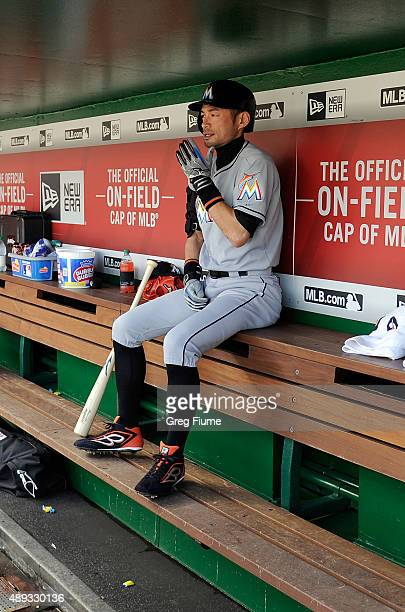 Ichiro Suzuki of the Miami Marlins sits in the dugout before the game against the Washington Nationals at Nationals Park on September 20 2015 in...