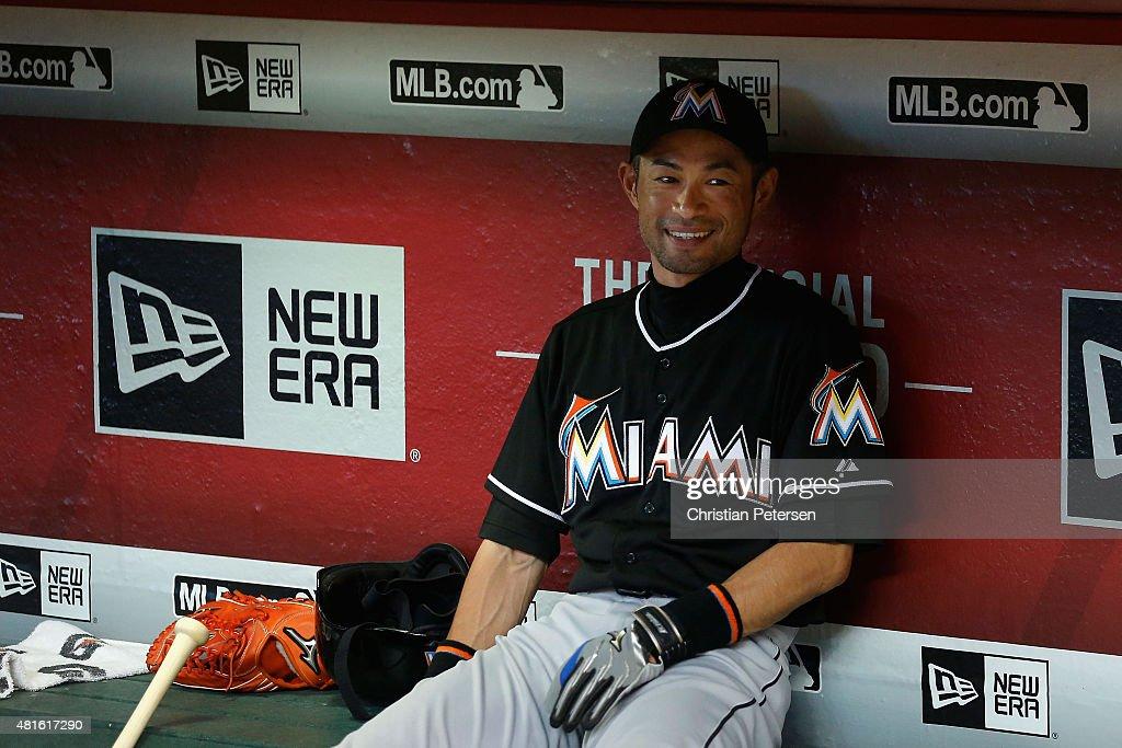 Ichiro Suzuki #51 of the Miami Marlins smiles in the dugout before the MLB game against the Arizona Diamondbacks at Chase Field on July 22, 2015 in Phoenix, Arizona.