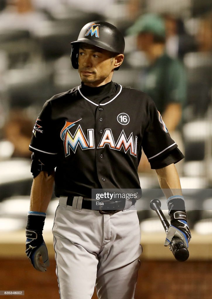 Ichiro Suzuki #51 of the Miami Marlins stands on deick in the ninth inning against the New York Mets on August 18, 2017 at Citi Field in the Flushing neighborhood of the Queens borough of New York City.