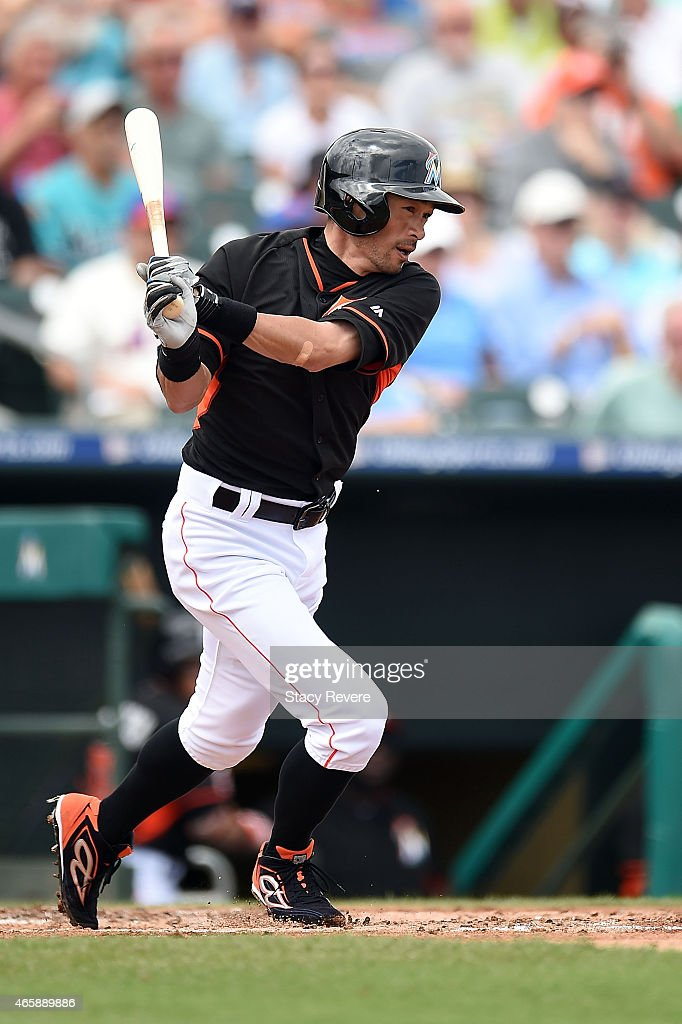 Ichiro Suzuki #51 of the Miami Marlins swings at a pitch during the second inning of a spring training game against the New York Mets at Roger Dean Stadium on March 11, 2015 in Jupiter, Florida.