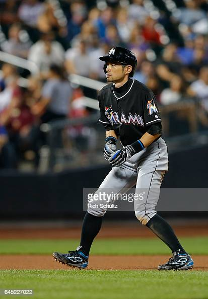 Ichiro Suzuki of the Miami Marlins takes a lead off second base during the sixth inning against of the New York Mets in a game at Citi Field on...