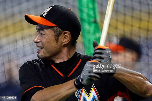 Ichiro Suzuki of the Miami Marlins takes batting practice prior to the start of the game against the Washington Nationals Ichiro Suzuki is tied with...
