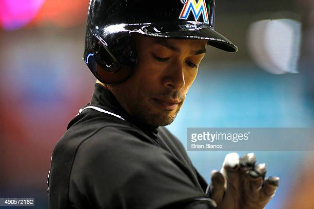 Ichiro Suzuki of the Miami Marlins waits on deck to bat during the second inning of a game against the Tampa Bay Rays on September 29 2015 at...