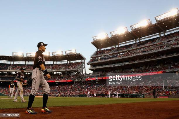 Ichiro Suzuki of the Miami Marlins walks off the field in the third inning against the Washington Nationals at Nationals Park on August 8 2017 in...