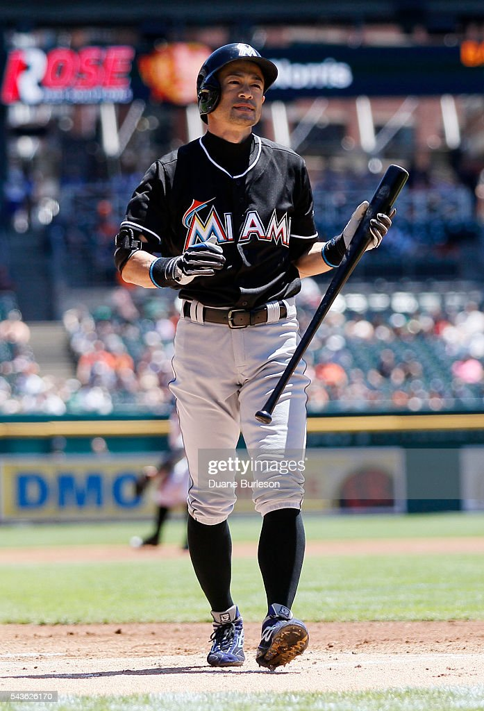 Ichiro Suzuki #51 of the Miami Marlins walks to the dugout after striking out against the Detroit Tigers during the first inning at Comerica Park on June 29, 2016 in Detroit, Michigan.