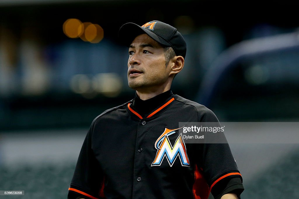 <a gi-track='captionPersonalityLinkClicked' href=/galleries/search?phrase=Ichiro+Suzuki&family=editorial&specificpeople=201556 ng-click='$event.stopPropagation()'>Ichiro Suzuki</a> #51 of the Miami Marlins warms up before the game against the Milwaukee Brewers at Miller Park on April 30, 2016 in Milwaukee, Wisconsin.