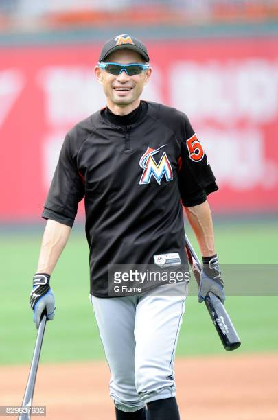 Ichiro Suzuki of the Miami Marlins warms up before the game against the Washington Nationals at Nationals Park on August 10 2017 in Washington DC