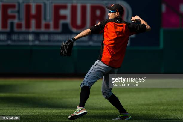Ichiro Suzuki of the Miami Marlins warms up during batting practice before a game against the Washington Nationals at Nationals Park on August 9 2017...