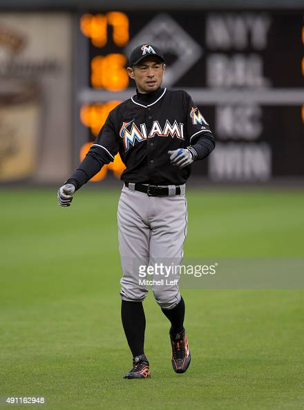 Ichiro Suzuki of the Miami Marlins warms up prior to the game against the Philadelphia Phillies on October 3 2015 at Citizens Bank Park in...