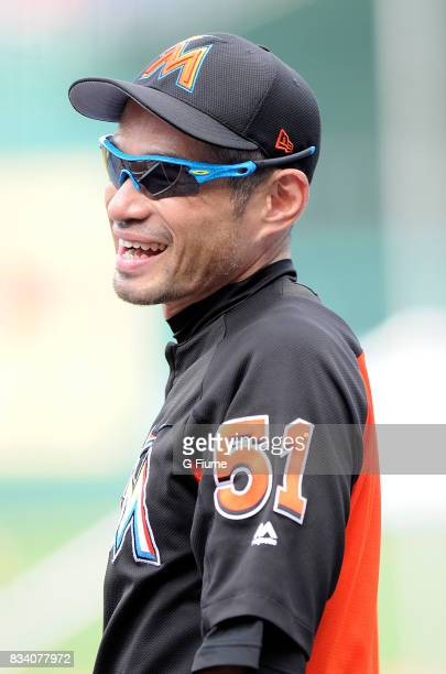 Ichiro Suzuki of the Miami Marlins watches batting practice before the game against the Washington Nationals at Nationals Park on August 10 2017 in...