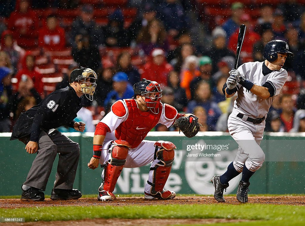 Ichiro Suzuki #31 of the New York Yankees at bat against the Boston Red Sox in the 8th inning during the game at Fenway Park on April 22, 2014 in Boston, Massachusetts.