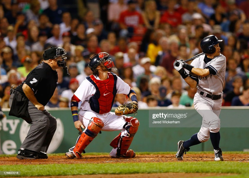 <a gi-track='captionPersonalityLinkClicked' href=/galleries/search?phrase=Ichiro+Suzuki&family=editorial&specificpeople=201556 ng-click='$event.stopPropagation()'>Ichiro Suzuki</a> #31 of the New York Yankees at bat against the New York Yankees during the game on August 18, 2013 at Fenway Park in Boston, Massachusetts.