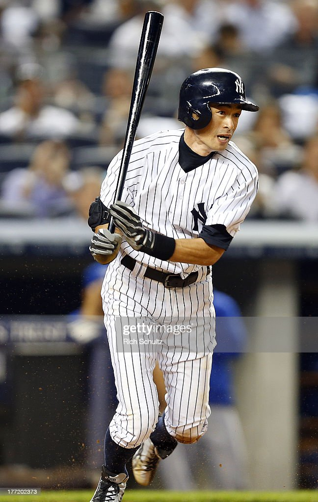 Ichiro Suzuki #31 of the New York Yankees at bat during a game against the Toronto Blue Jays. Ichiro singled in the first inning for his 4,000 career hit at Yankee Stadium on August 121, 2013 in the Bronx borough of New York City.