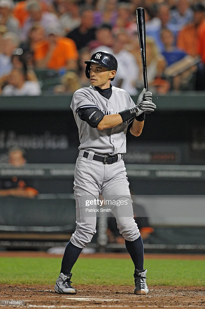 Ichiro Suzuki #31 of the New York Yankees bats against the Baltimore Orioles at Oriole Park at Camden Yards on June 28, 2013 in Baltimore, Maryland. The Baltimore Orioles won, 4-3.