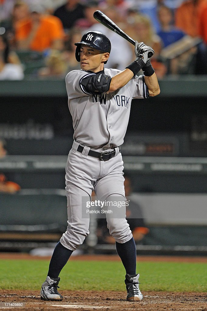 <a gi-track='captionPersonalityLinkClicked' href=/galleries/search?phrase=Ichiro+Suzuki&family=editorial&specificpeople=201556 ng-click='$event.stopPropagation()'>Ichiro Suzuki</a> #31 of the New York Yankees bats against the Baltimore Orioles at Oriole Park at Camden Yards on June 28, 2013 in Baltimore, Maryland. The Baltimore Orioles won, 4-3.