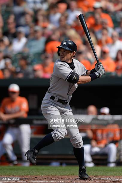 Ichiro Suzuki of the New York Yankees bats against the Baltimore Orioles in the second inning during a game at Oriole Park at Camden Yards on July 12...