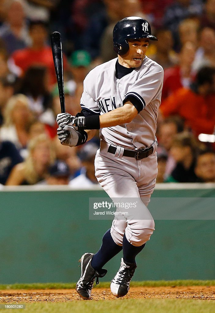 Ichiro Suzuki #31 of the New York Yankees bats against the Boston Red Sox during the game on September 13, 2013 at Fenway Park in Boston, Massachusetts.
