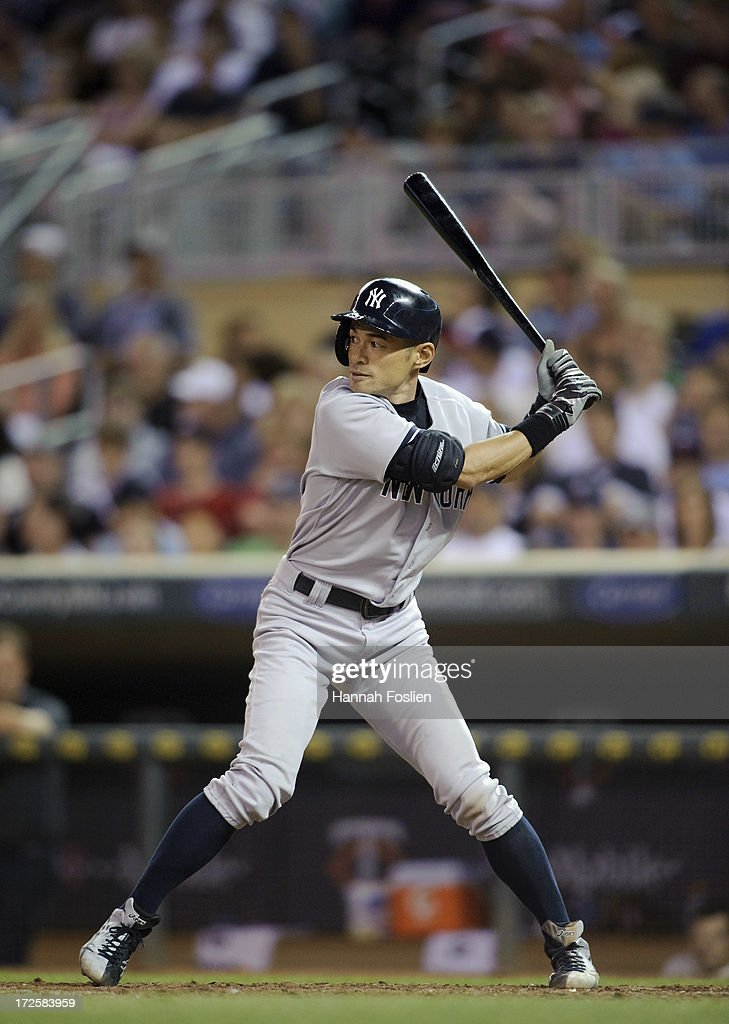 Ichiro Suzuki #31 of the New York Yankees bats against the Minnesota Twins during the game on July 3, 2013 at Target Field in Minneapolis, Minnesota.