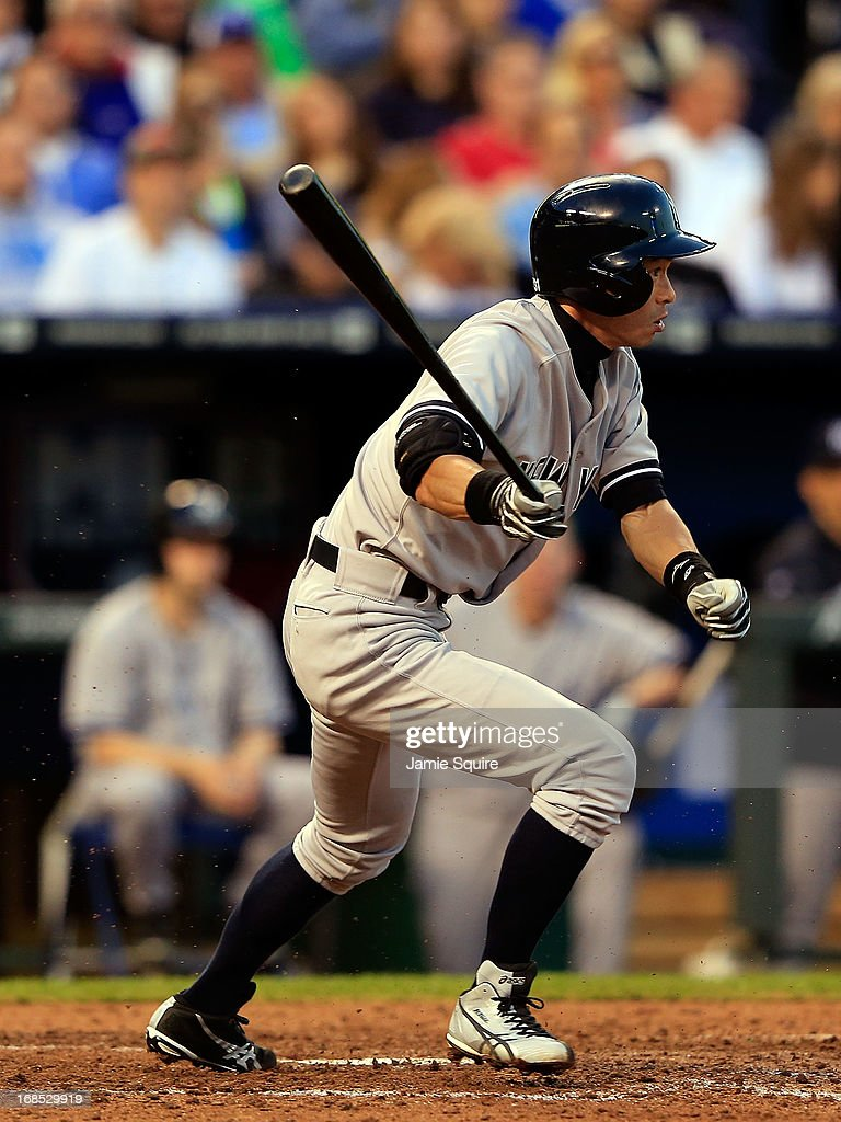 <a gi-track='captionPersonalityLinkClicked' href=/galleries/search?phrase=Ichiro+Suzuki&family=editorial&specificpeople=201556 ng-click='$event.stopPropagation()'>Ichiro Suzuki</a> #31 of the New York Yankees bats during the game against the Kansas City Royals at Kauffman Stadium on May 10, 2013 in Kansas City, Missouri.