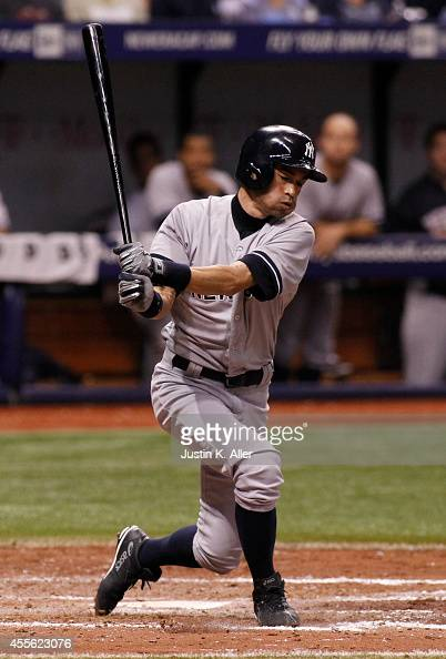 Ichiro Suzuki of the New York Yankees bats during the sixth inning of a game against the Tampa Bay Rays on September 17 2014 at Tropicana Field in St...