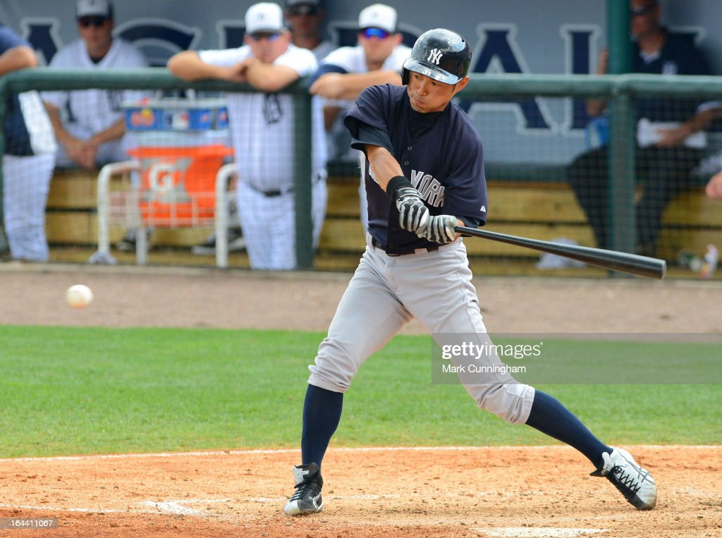 <a gi-track='captionPersonalityLinkClicked' href=/galleries/search?phrase=Ichiro+Suzuki&family=editorial&specificpeople=201556 ng-click='$event.stopPropagation()'>Ichiro Suzuki</a> #31 of the New York Yankees bats during the spring training game against the Detroit Tigers at Joker Marchant Stadium on March 23, 2013 in Lakeland, Florida. The Tigers defeated the Yankees 10-6.