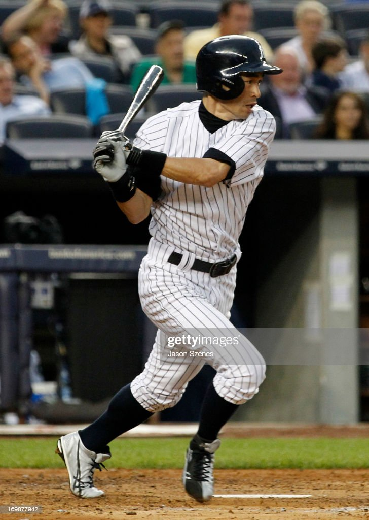 Ichiro Suzuki #31 of the New York Yankees connects on a single to center field against the Cleveland Indians at Yankees Stadium on June 3, 2013 in the Bronx borough of New York City. (Photo by Jason Szenes/Getty Images