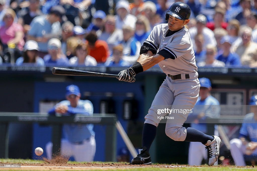 Ichiro Suzuki #31 of the New York Yankees connects with a pitch against Kansas City Royals in the third inning on May 12, 2013 at Kauffman Stadium in Kansas City, Missouri.