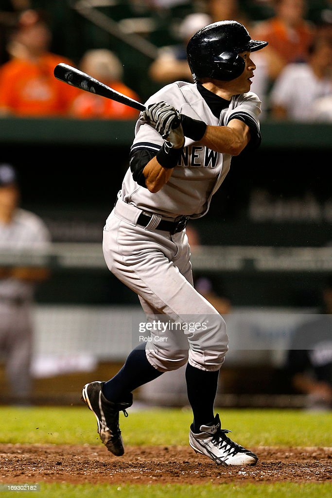 <a gi-track='captionPersonalityLinkClicked' href=/galleries/search?phrase=Ichiro+Suzuki&family=editorial&specificpeople=201556 ng-click='$event.stopPropagation()'>Ichiro Suzuki</a> #31 of the New York Yankees flies out for the first out of the ninth inning against the Baltimore Orioles at Oriole Park at Camden Yards on May 22, 2013 in Baltimore, Maryland.