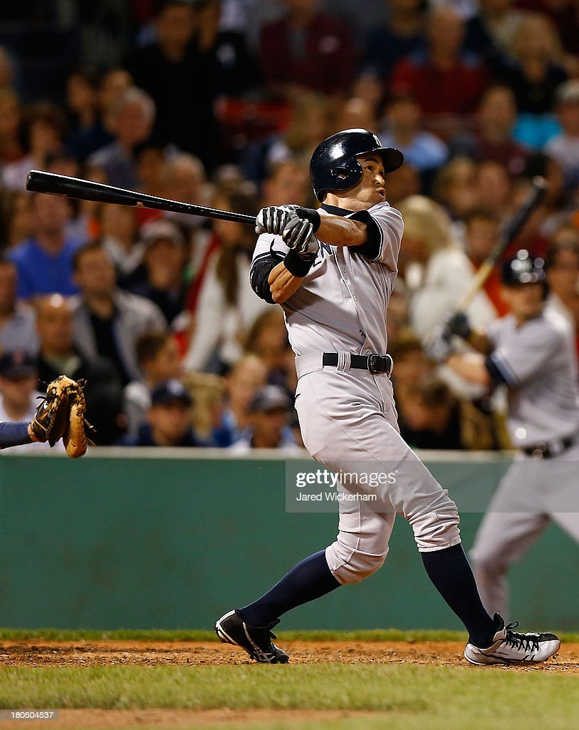Ichiro Suzuki #31 of the New York Yankees flies out in the 8th inning against the Boston Red Sox during the game on September 13, 2013 at Fenway Park in Boston, Massachusetts.