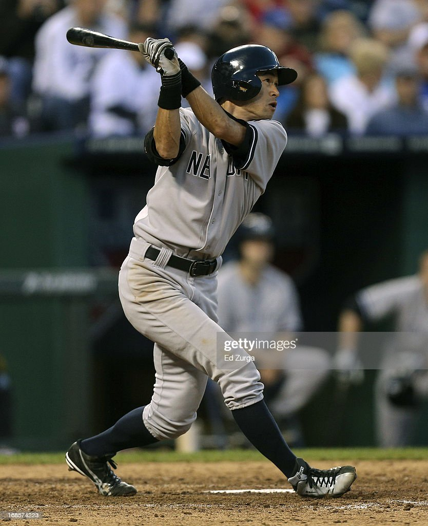 <a gi-track='captionPersonalityLinkClicked' href=/galleries/search?phrase=Ichiro+Suzuki&family=editorial&specificpeople=201556 ng-click='$event.stopPropagation()'>Ichiro Suzuki</a> #31 of the New York Yankees flies out in the eighth inning against the Kansas City Royals at Kauffman Stadium on May 11, 2013 in Kansas City, Missouri.