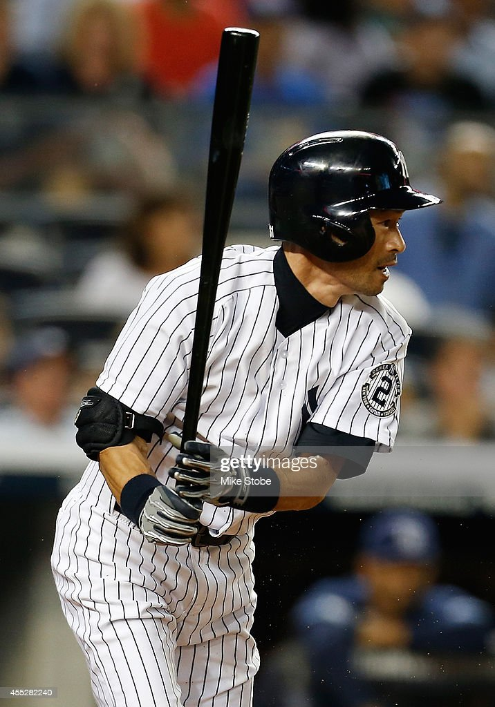 <a gi-track='captionPersonalityLinkClicked' href=/galleries/search?phrase=Ichiro+Suzuki&family=editorial&specificpeople=201556 ng-click='$event.stopPropagation()'>Ichiro Suzuki</a> #31 of the New York Yankees grounds out to the pitcher in the second inning against the Tampa Bay Rays at Yankee Stadium on September 11, 2014 in the Bronx borough of New York City.