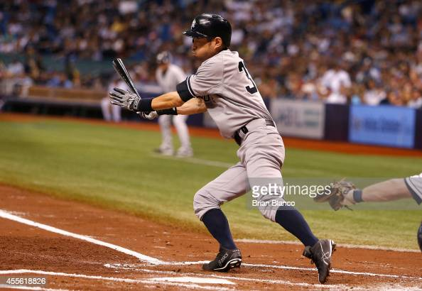 Ichiro Suzuki of the New York Yankees grounds out to the shortstop during the third inning of a game against the Tampa Bay Rays on September 17 2014...