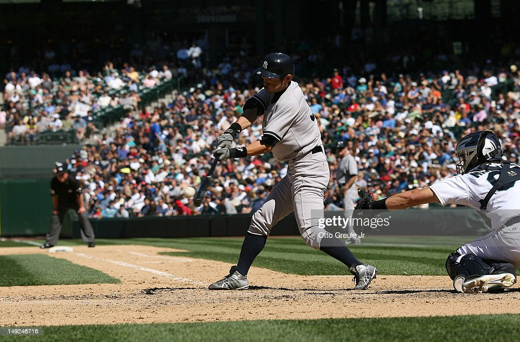 Ichiro Suzuki #31 of the New York Yankees grounds out to third in his final at-bat against the Seattle Mariners at Safeco Field on July 25, 2012 in Seattle, Washington. The Yankees defeated the Mariners 5-2.
