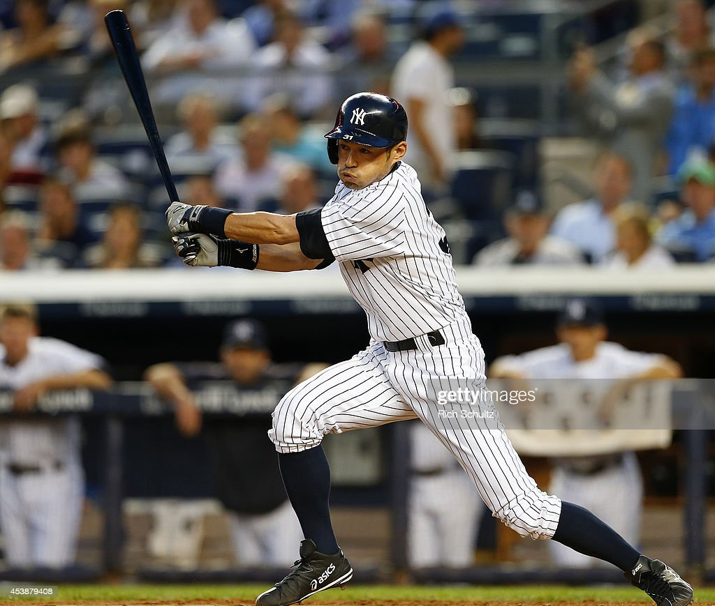 <a gi-track='captionPersonalityLinkClicked' href=/galleries/search?phrase=Ichiro+Suzuki&family=editorial&specificpeople=201556 ng-click='$event.stopPropagation()'>Ichiro Suzuki</a> #31 of the New York Yankees hits a double against the Houston Astros during the second inning in a MLB baseball game at Yankee Stadium on August 20, 2014 in the Bronx borough of New York City.