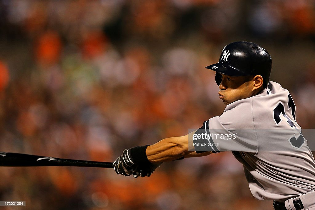 <a gi-track='captionPersonalityLinkClicked' href=/galleries/search?phrase=Ichiro+Suzuki&family=editorial&specificpeople=201556 ng-click='$event.stopPropagation()'>Ichiro Suzuki</a> #31 of the New York Yankees hits in the second inning against the Baltimore Orioles at Oriole Park at Camden Yards on June 30, 2013 in Baltimore, Maryland. The Baltimore Orioles won, 4-2.