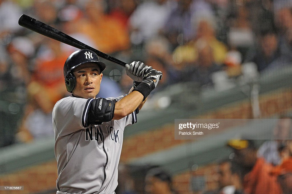 <a gi-track='captionPersonalityLinkClicked' href=/galleries/search?phrase=Ichiro+Suzuki&family=editorial&specificpeople=201556 ng-click='$event.stopPropagation()'>Ichiro Suzuki</a> #31 of the New York Yankees holds the bat during the game against the Baltimore Orioles at Oriole Park at Camden Yards on June 28, 2013 in Baltimore, Maryland. The Baltimore Orioles won, 4-3.
