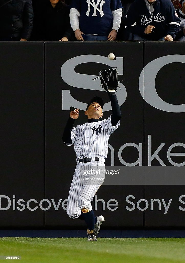 Ichiro Suzuki #31 of the New York Yankees in action against the Boston Red Sox at Yankee Stadium on April 4, 2013 in the Bronx borough of New York City. The Yankees defeated the Red Sox 4-2.