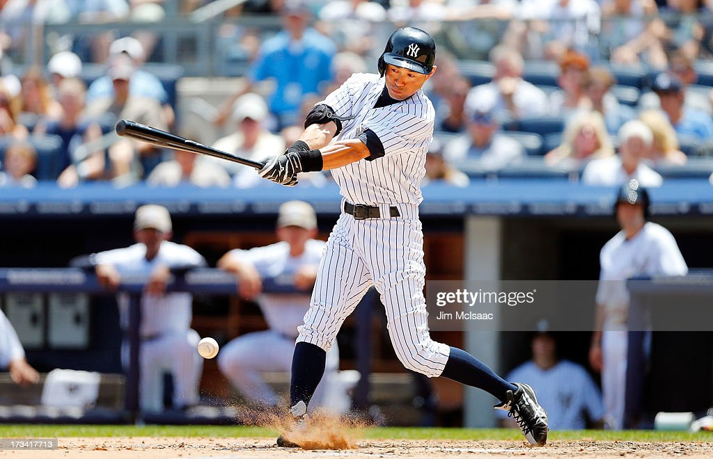 <a gi-track='captionPersonalityLinkClicked' href=/galleries/search?phrase=Ichiro+Suzuki&family=editorial&specificpeople=201556 ng-click='$event.stopPropagation()'>Ichiro Suzuki</a> #31 of the New York Yankees in action against the Minnesota Twins at Yankee Stadium on July 13, 2013 in the Bronx borough of New York City. The Twins defeated the Yankees 4-1.