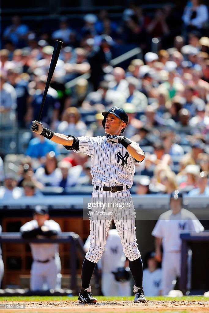 Ichiro Suzuki #31 of the New York Yankees in action against the Oakland Athletics at Yankee Stadium on May 4, 2013 in the Bronx borough of New York City. The Yankees defeated the A's 4-2.