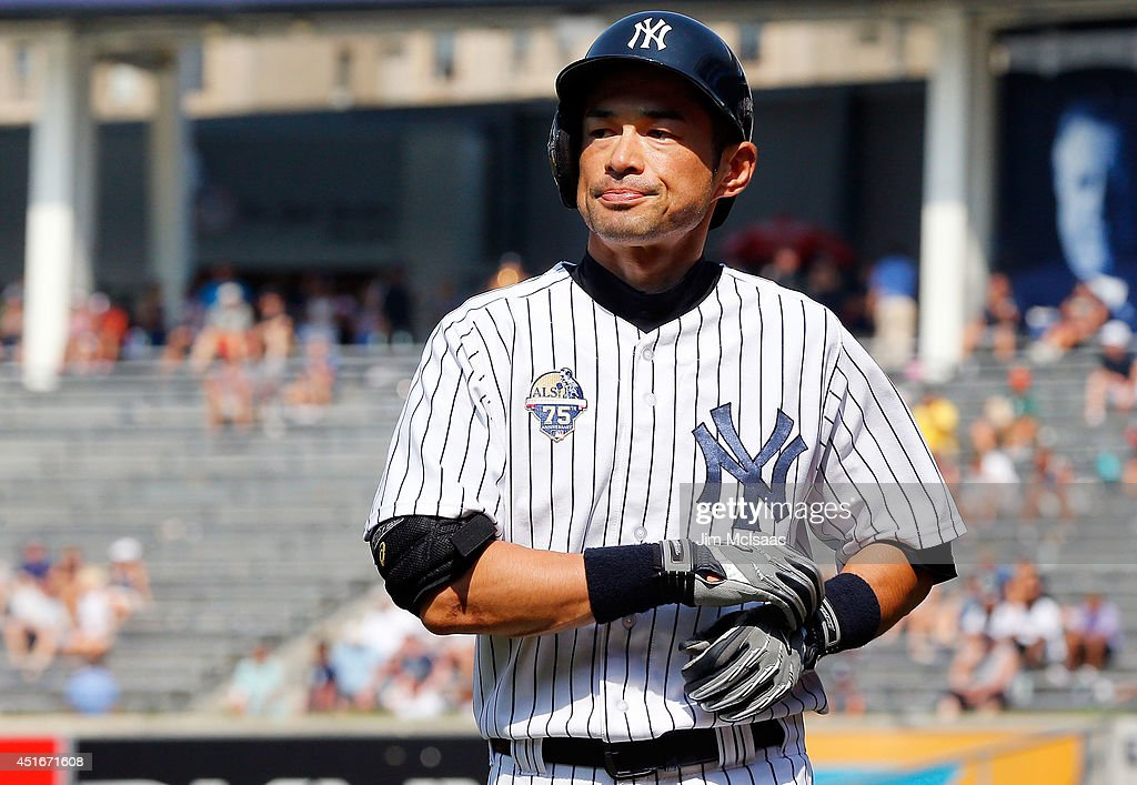 <a gi-track='captionPersonalityLinkClicked' href=/galleries/search?phrase=Ichiro+Suzuki&family=editorial&specificpeople=201556 ng-click='$event.stopPropagation()'>Ichiro Suzuki</a> #31 of the New York Yankees in action against the Tampa Bay Rays at Yankee Stadium on July 2, 2014 in the Bronx borough of New York City. The Rays defeated the Yankees 6-3.