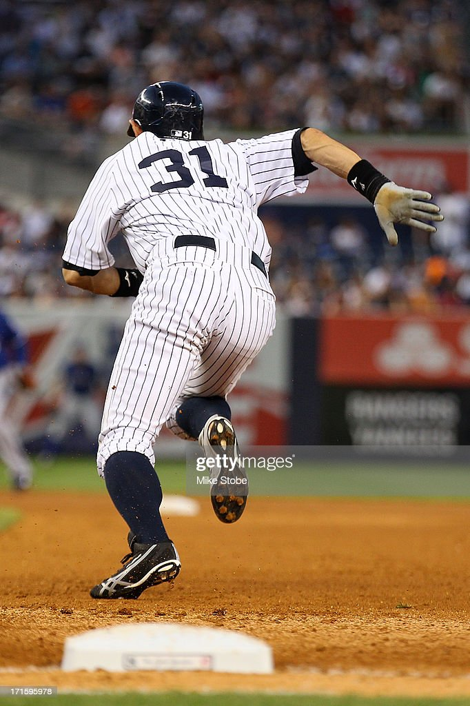 Ichiro Suzuki #31 of the New York Yankees in action against the Texas Rangers at Yankee Stadium on June 26, 2013 in the Bronx borough of New York City. Rangers defeated the Yankees 8-5.