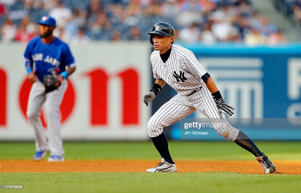 Ichiro Suzuki #31 of the New York Yankees in action against the Toronto Blue Jays at Yankee Stadium on August 22, 2013 in the Bronx borough of New York City. The Yankees defeated the Blue Jays 5-3.