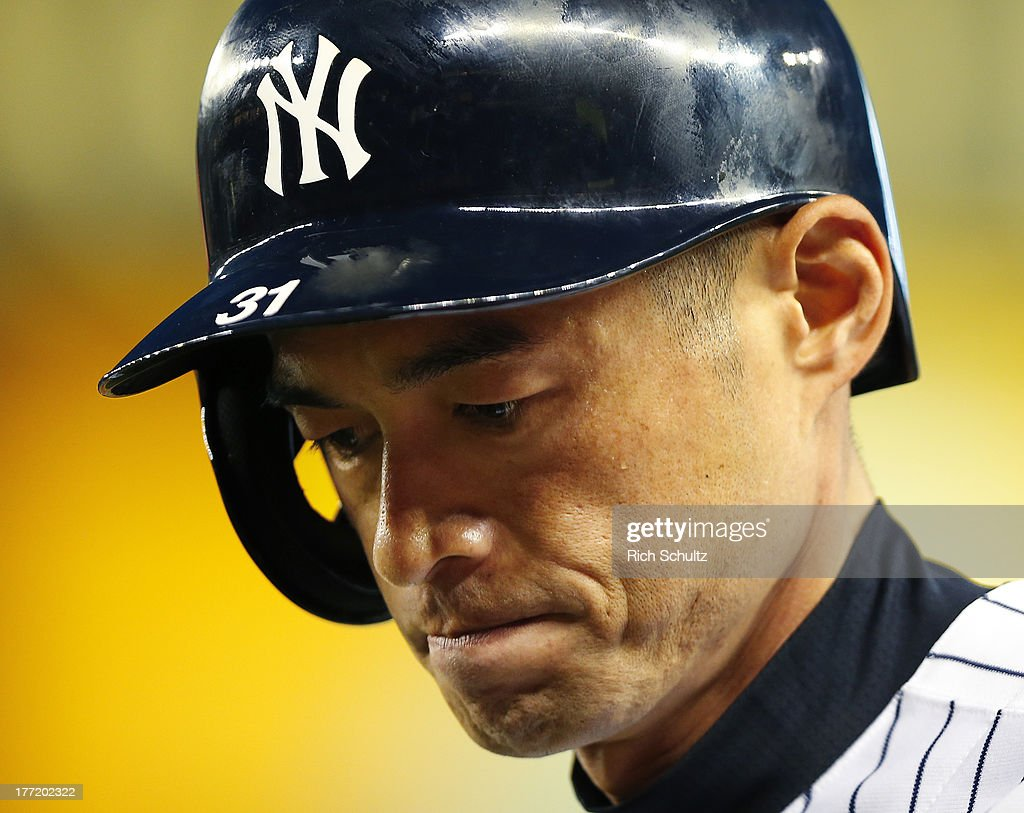 Ichiro Suzuki #31 of the New York Yankees in action during a game against the Toronto Blue Jays. Ichiro singled in the first inning for his 4,000 career hit at Yankee Stadium on August 121, 2013 in the Bronx borough of New York City.