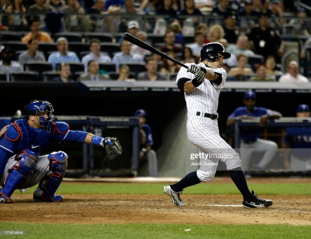 Ichiro Suzuki #31 of the New York Yankees is seen after connecting on a walk-off home run in the ninth inning against the Texas Rangers at Yankee Stadium on June 25, 2013 in the Bronx borough of New York City.